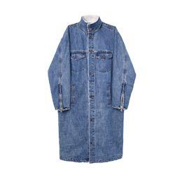 Wholesale Denim Trench - Wholesale- Men's Warm Fleece Long Denim Trench Coat Autumn Winter Fashion Zipper Sleeve Coats 2017 Rare Fashion New