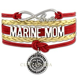 Wholesale Infinity Marine - (10 PCS Lot) Infinity Love US Marine Mom Sister Marines Charms Bracelets For Women Men Jewelry Red Gold Leather Bracelets