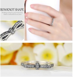 Wholesale Wholesale Sparkle Jewelry - Pandora Style Silver Plated Engagement Ring Sparkling Bow Knot Stackable Ring Micro Pave CZ for Women Wedding Jewelry