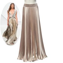 Wholesale Smooth Line - Spring AutumnFashion Elegant Metal Gloss Elastic Waist Pleated Smooth Bright 2016 Satin Ladies Maxi Long Tulle Women's Skirts
