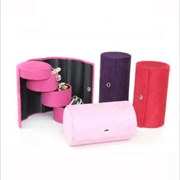Wholesale Portable Jewelry Storage Case - Three-cylinder Velvet Jewelry Storage Box Vintage Jewelry Box Portable Jewelry Boxes and Packaging Wedding Ring Earring Display Cases