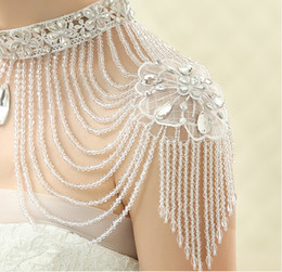 Wholesale Rounded Neckline Wedding - Fashion Ladies  Women Wedding Shoulder Necklace With Tassel Crystal Rhinestone High Neckline Women Wedding Dress Accessories