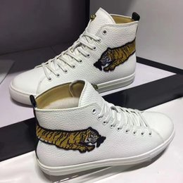 Wholesale Long Sneakers - Genuine leather breathable leisure party shoes fashion cool all-match sneakers with long body tiger print designer high help red white black