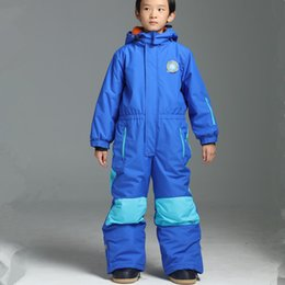 Wholesale Overall Ski - Wholesale- Winter Kids Boys Girls Ski Suit Set Waterproof Children Snowsuit 3T To 14T Romper Overall Windproof Jumpsuit Kids Skiing Clothes