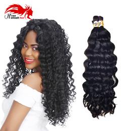 Wholesale Natural Virgin Human Hair Bulk - Deep Curly Wave Peruvian Virgin Natural Wave Human Hair Bulk For Braiding 16 -26 inch No Attachment Hair Bulk Natural Black