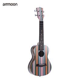 """Wholesale acoustic ukulele - Wholesale-ammoon Colorized 24"""" Acoustic Soprano Ukulele Ukelele Uke Wooden 18 Frets 4 Strings Okoume Neck Rosewood Fingerboard"""