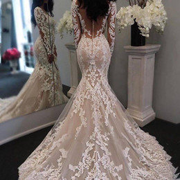 Discount vestidos wedding dress lace - 2016 Vestidos De Novia Lace Appliqued Wedding Dresses Mermaid Long Sleeves Vintage Bridal Gowns With Buttons Back Bridal Dresses
