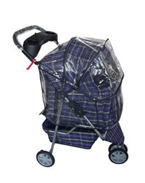 Wholesale Dog Cat Accessories - New Large Blue Plaid 3 Wheels Pet Dog Cat Stroller Cage Free