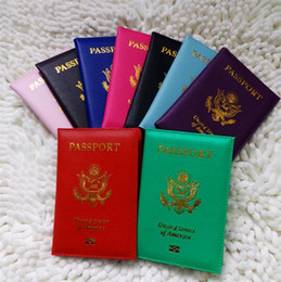 Wholesale Cover Letter Sales - Hot Sales American Passport cases Wallets Card Holders Cover Case ID Holder Protector PU Leather Travel 9 Colors passport cover 4646