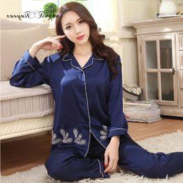 Wholesale Satin Night Suits - Wholesale- New fashion sexy floral pattern women home wear large size L-XXXL blue satin night suits ladies sleepwear set