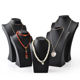 Wholesale neck jewellery - Black PU Leather Necklace Bust Tall Jewelry Display Stand Neck Form for Jewellery Window Shelf Exhibition Counter Top Stand