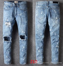 FOG10 2017 new style summer men s Slim jeans gray colors pants patch the  hole in the fold locomotive jeans 28-38 f50294cbc