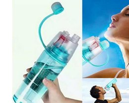 Wholesale Cover Sports Bags - 400ml Creative Water Spray Cup Sports Riding Spray Plastic Water Bottle Space Cup