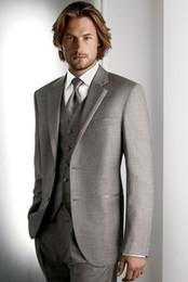 Wholesale Mens Grey Vest Pants - Fashionable Two Button Light Grey Groom Tuxedos Notch Lapel Groomsmen Best Man Mens Weddings Prom Suits (Jacket+Pants+Vest+Tie) NO:3365