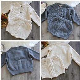 Wholesale Babys Suits - New Wholesale Babys Fashion Knitted Set Sweater Coat +Short High Quality Soft Autumn Babys Suits Z423