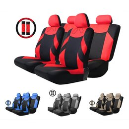 Wholesale Steering Wheel Wraps - Universal T20648   BK + BG 13pcs Car Seat Cover Set Auto Vehicle Cushion Protector with Steering Wheel Wrap Shoulder Belt Pads 175353601