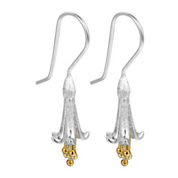 Wholesale Glory Flower - 5 pairs lot Sterling Silver Jewelry Luxury Long Morning Glory Flower 925 Silver Drop Earrings for Women Elegant Brand Jewelry