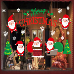 Wholesale Wholesale Clear Plastic Christmas Bags - Christmas Decorations Christmas Tree Stickers Living Room Bedroom Removable Clear PVC Wall Stickers Santa Claus Bags Gifts 71*54cm
