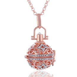 Wholesale Wholesale Crystal Cages - Aromatherapy Perfume Essential Oil Diffuser Necklaces Crystal Hollow Out Rosed Gold Plated Cage Pendants Necklace For Women