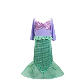 Wholesale Wholesale Sashes For Gowns - Halloween Christmas Carnaval sequins Costumes for Kids Girl Long Sleeve ariel Little Mermaid Costume Dress girls Children Girl Birthday