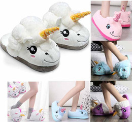 Wholesale winter plush slippers - hot plush unicorn slipper Cotton Home Slippers for White Despicable Winter Warm Chausson Licorne Indoor Christmas Slippers Fit Size 34-41