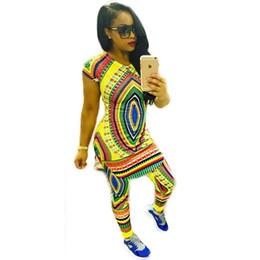 Wholesale Round Neck Short Sleeve Dress - 2017 Sexy African Dashiki Mini Two Piece Dress Autumn Short Sleeve Round Neck Bodycon Bandage Short Dresses African Print Dress cheap cheap