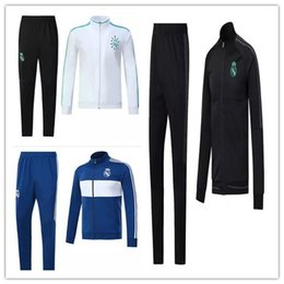 Wholesale Fleece Jogging Pants - 2018 Real Madrid Soccer Tracksuit Jacket Suit Track Suit 17 18 Ronaldo Jogging Football Tops Coat Pants Adults jacket Training kit