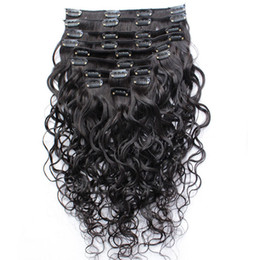 Wholesale Human Hair Extensions Full Set - Wet And Wavy Clip Indian Human Hair Extensions Cheap Full Head Clip In Hair Extensions Water Wave 10pcs set 120g set Free Shipping