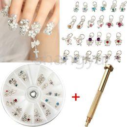 Wholesale Free Drills - Free shipping Nail Art Charm Piercing Hand Drill Hole Pierce Tool + 24 Pendants Dangle Decor Nail Art Salon Decorations