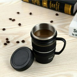 Wholesale Thermal Lens Mug - Camera Lens Shapedstainless Steel Cups With Strap Cup Water Cup Coffee Mug Logo Caniam Slr Gift For Photo