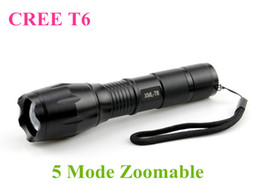 Wholesale Diving Torch T6 - Black CREE XML T6 3800Lumens High Power LED Torches Zoomable Tactical LED Flashlights torch light for 3xAAA or 1x18650 battery