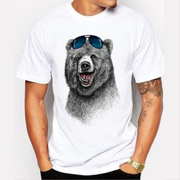 Wholesale Cheapest T Shirt White - 2017 Cheapest Fashion Laughing Bear Men T-shirt Short sleeve men The Happiest Bear Retro Printed T Shirts Casual Funny Tops