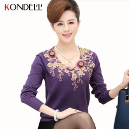 Wholesale flower applique sweater - Wholesale-KONDELL Autumn Women Floral Knitted Sweater Pullovers Long Sleeve Flower Plus Size Warm Top Mother Clothing