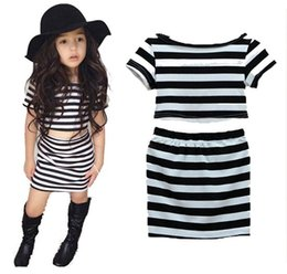 Wholesale Skirt White Short Wholesale - girls clothing sets boutique kids clothes summer fashion baby black and white stripe t shirts short top + package hip skirt childrens outfit