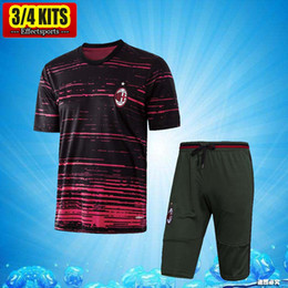 Wholesale Short Pants Suit Set - 2017 AC Milan Short Sleeve Training Suit 3 4 Pants kits Jerseys ITaly Club AC Chandal Tracksuits Uniforms Sets Survetement Football shirts