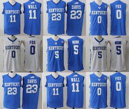 Wholesale Kentucky Jersey - Kentucky Wildcats College Jerseys 0 De Aaron Fox jersey 5 Malik Monk 11 John Wall 23 Anthony Davis Stitched Jerseys