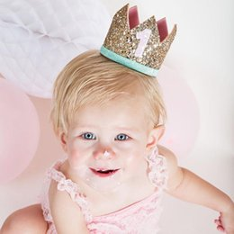 Wholesale Baby Birthday Girl Tiara - Birthday party Baby sequin crown headband Fashion Infant boys girls Crown Hair Accessories kids headwear letter birthday Hair ribbon A467