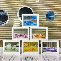 Wholesale Desk Picture Frames - Creative Colorful Moving Sand Glass Picture Photo Frame Sand Glass Home Desk Decoration Office Decor Ornament Birthday Gifts ZA2552