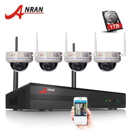 Wholesale h 264 nvr - ANRAN P2P CCTV System 4CH H.264 Wireless NVR Kit P2P 1.0MP HD Email Alarm Vandal-proof Dome IR IP WIFI Security Camera 1TB HDD Optional