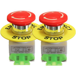 Wholesale Red Stop Button - 2Pcs Amico Red Mushroom Cap 1NO 1NC DPST Emergency Stop Push Button Switch AC 660V 10A e-stop switch Low Price