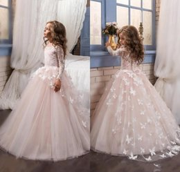 Wholesale Shirts Butterfly Sleeves - 2017 New Baby Lace Long Sleeves Ball Gown Flower Girls Dresses Butterfly Kids Pageant Gowns for Birthday Party