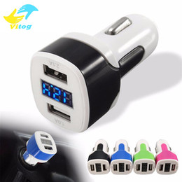 Wholesale Display Port Lead - Hot Car Charger 12-24V 3.1A Quick Charge Dual USB Port LED Display Cigarette Lighter Phone Adapter Car Voltage Diagnostic for iphone samsung