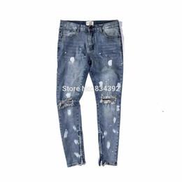 Wholesale Dotted Jeans - Wholesale- Best version 2016 Fear of God FOG zippers skinny slim fit mens Distressed justin bieber black cotton Denim jeans