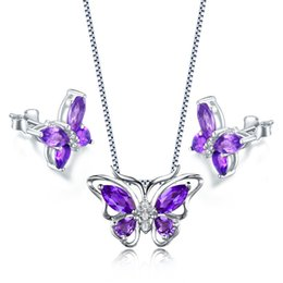 "Wholesale Purple Silver Jewelry Sets - 2017 Newest AAA Jewelry Set Cute Purple Amethyst Butterfly Shape Pendant Necklace Chain 18"" for Women Girls Genuine Amethyst MQ Pear Earring"