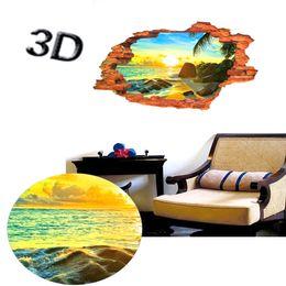 Wholesale Sun Vinyl Stickers - 3D Sea View Window Film Art Mural Wall Sticker family Decals Living Room Decoration Window Wall Art Mural Sticker Paper Poster Sun View