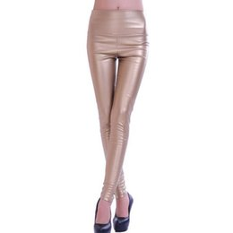Wholesale Thick Knitted Pants - Wholesale- Autumn winter Women clothing skinny PU leather pencil Leggings slim faux Leather Pants female fashion thick fleece trousers 5576
