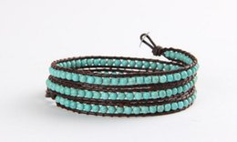 Wholesale Turquoise Leather Wrap Bracelets Wholesale - 4 mm natural gem stone turquoise beaded bracelet three layers genuine leather bracelet genuine leather Wrap charm wristband women jewelry