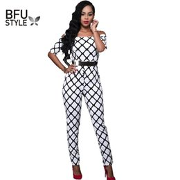 Wholesale Jumpsuits Patterns Free - Wholesale- New 2017 Jumpsuit Romper Women's Overalls Sexy Fashion Waist Jumpsuit Pants Coveralls Black White Pattern Playsuit Free Shipping