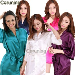 Wholesale ladies kimono robe - Wholesale- RB032 2016 New Silk Kimono Robe Bathrobe Women Silk Bridesmaid Robes Sexy Navy Blue Robes Satin Robe Ladies Dressing Gowns