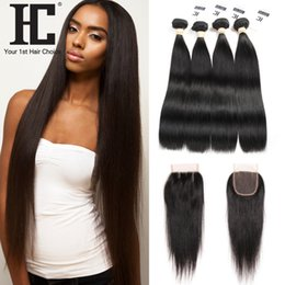 Wholesale Soft Wave Brazilian Hair Weave - Soft Peruvian Virgin Hair Straight With Closure Peruvian Straight Hair Lace Closure 4 Bundles With Closure Free Middle Three Part Human Wave